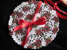 "6"" Inch Poinsettia Red White Flower Lace Paper Doily Craft Round 50 Pcs"