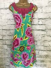 Almatrichi Ladies Green & Pink Floral Cotton Summer Dress Size 38 UK 10 US 6