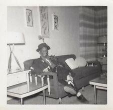 Vintage Halloween Costume Photo Black Face Hobo Bum Mid Century Living Room