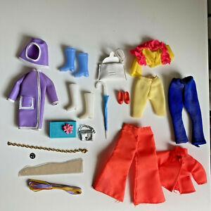 Vintage Dawn Doll Clothes Lot Mixed Rain Coat Boots Umbrella Silver Purse CIN