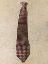 """VTG Boys Clip On Neck Tie Poly W/DuPont Fabric Protector 17"""" X 2.5"""" Tan/Dk Red"""