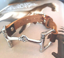 Brown Leather Wrap Bracelet Leather Bracelet Leather Cuff with Stainless Snaffle