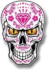 Lrg realistico Messicano Sugar Skull Magenta & WHITE & Evil Eyes Auto Adesivo Decalcomania
