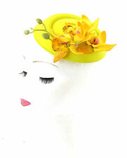 Yellow Orchid Flower Pillbox Hat Fascinator Races Rockabilly 1950s Vintage 496