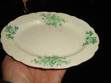 Antique KEYSTONE CANONSBURG Pottery Green Transfer Flower Spray Oval Bread Plate