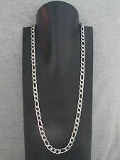 """Necklace 30.25"""" x 9.5 mm New Figaro Polished Stainless Steel 316-L Chain Men's"""