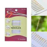 12PCs Thick Big Eye Sewing Self-Threading Needles Embroidery Hand Sewing Tools
