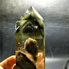 """323g  Rare Natural clear green and red """"ghost"""" quartz crystal point healing G899"""