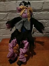 Vintage Halloween Shelf Mantle Witch Doll Sitting in handcrafted rocking chair