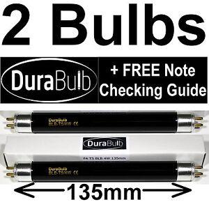 2 x F4 T5 BLB 4W UV Bank Note Checker Bulb Fake Money Detector Ultraviolet Tube