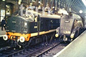 35mm slide British Rail loco class 23 & A4 D5909 & 60032  Kingscross 1960s r142