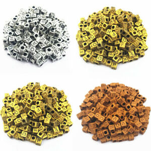50Pcs 6mm Square Letter Acrylic Beads DIY For Jewelry Making Pendant Wholesale