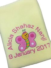 PERSONALISED BUTTERFLY BABY BLANKET, BIRTH/CHRISTENING