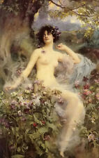 Dream-art Oil painting Henrietta Rae - songs of the morning nude beauty flowers