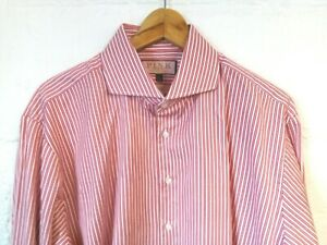 """Thomas Pink red striped slim fit shirt 17/44""""-46""""chest"""