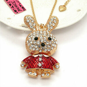 Crystal Red 3D Cute Rabbit Charm Pendant Betsey Johnson Sweater Chain Necklace