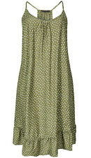 New M&S Womens Khaki Spotted Flippy Strappy Beach Summer Dress Sz 20