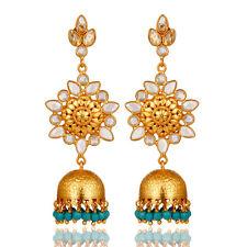 18k Gold Plated Silver Turquoise Dangle Jhumka Earrings Gemstone Jewelry