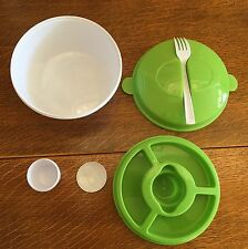 Packed Lunch Box Salad Bowl Removable Tray Dressing Container Secure Snap Fork