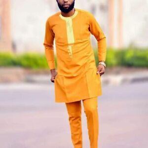 African Muslim Men Dashiki Suit Agbada Shirt Suit Pants Set Traditional Clothes