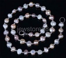 Natural Freshwater Baroque 8-9mm Multi Color Pearl Necklace Chocker