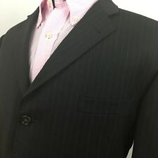 Burberry London Mens Pinstripe Black Brown Suit Jacket 46R Barneys New York 022
