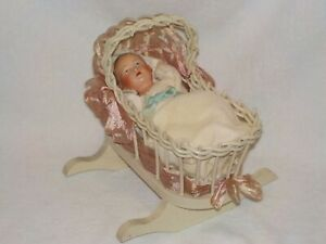 """7"""" Antique Celluloid Baby Doll In Wicker Cradle~ France"""