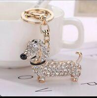 Cute Dachshund Sausage Dog Keyring Keychain GIFT Pendant Silver