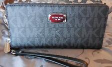 MICHAEL KORS~Jet Set Travel Continental SIGNATURE Wristlet Wallet~BLACK~NWT$188