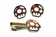 Super Mario World Bros RED MUSHROOM Retro SNES NES TIE BAR CLIP CUFFLINKS SET