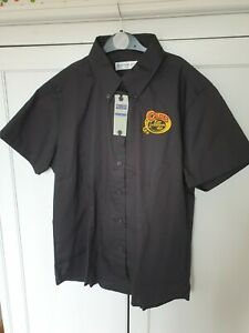 Cains Brewery Short Sleeve Black Shirt Embroidered Logo Very Rare Size 14 Womens