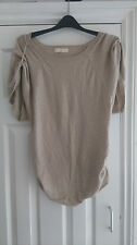 Womens Miso Biege t shirt size 10 stretch cotton,sleeves and sides gathered up,