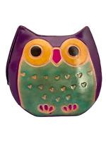 🦉 Painted Leather Owl Snap Coin Purse Purple Shantiniketan Hippie Boho India