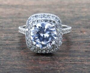 Estate 18k White Gold Double Halo Diamond Engagement Ring Setting. **ONLY $890**