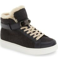 COACH Richmond Wool And Shearling High Top Sneaker Size 8 Heathered Dark Grey
