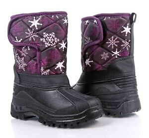 Purple Water Resistant Kids Hook & Loop Fasten Girls Youth Winter Snow Boots