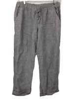 Allen Allen Women's Pants Gray Drawstring Linen Striped Size XL