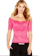 NWT GUESS PINK HALF-SLEEVE OFF-THE-SHOULDER LACE TOP SIZE S