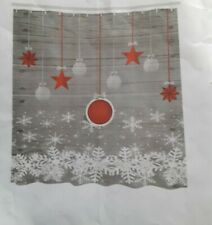 Christmas Shower Curtain Stars Baubles Snow Print for Bathroom New in Package