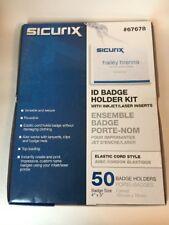 "ID Name Tag Badge Kit Elastic Cord Top Load Inkjet/Laser 3""x4"" 50/BX  67678 NIB"