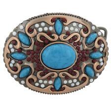 Bohemian Beads &Turquoise Decor Western Hip Hop Metal Belt Buckle for Women