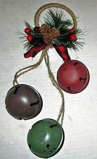 CHRISTMAS Door Hanger 3 COLORFUL BELLS WITH PINECONES AND BERRIES