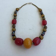 VINTAGE CHERRY AND HONEY AMBER BAKELITE BEADED TRIBAL NECKLACE