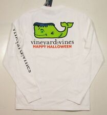 Vineyard Vines Men's L/S White Cap Frankenstein Whale Pocket Graphic T-Shirt