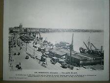 Gravure France Bordeaux Gironde une partie du port