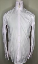 NEW PRADA MILANO LUXURY DESIGNER SHIRT FINE PIN STRIPED LIGHT PINK. FITTED 15.5