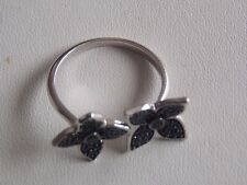 Gorgeous Black Spinel & Sterling Silver Ring Sz R to S by Gems TV with Cert