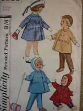 UNCUT VINTAGE 1960'S SIMPLICITY TODDLERS COATS & TROUSERS SEWING PATTERN