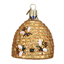 OLD WORLD CHRISTMAS BEE SKEP STRAW HIVE HONEY FLOWERS CHRISTMAS ORNAMENT 12391