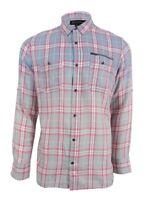 INC International Concepts Men's Ombré Plaid Cotton Shirt L, Lightning